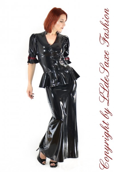Bodenlanger Fishtail Latex-Rock mit Schleife