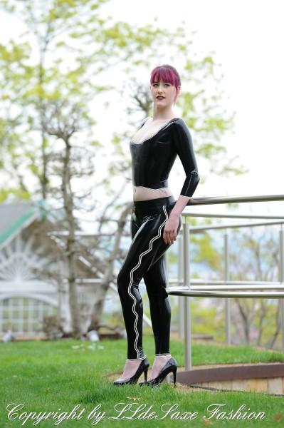 Damen Leggings mit Schrittreißverschluss und Wellendesign